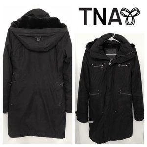 TNA Aritzia Chamonix Parka Winter Coat Black Fur